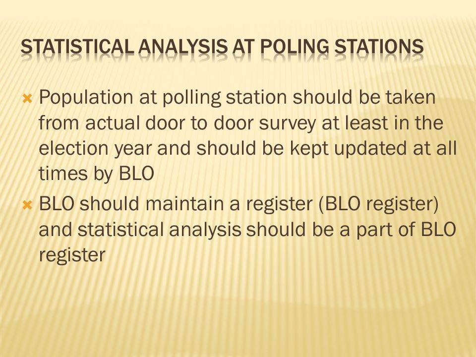 Statistical Analysis at Poling Stations