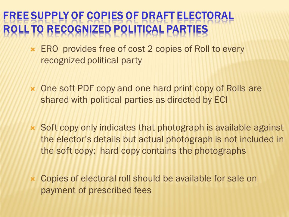 Free supply of copies of Draft Electoral Roll to Recognized Political parties