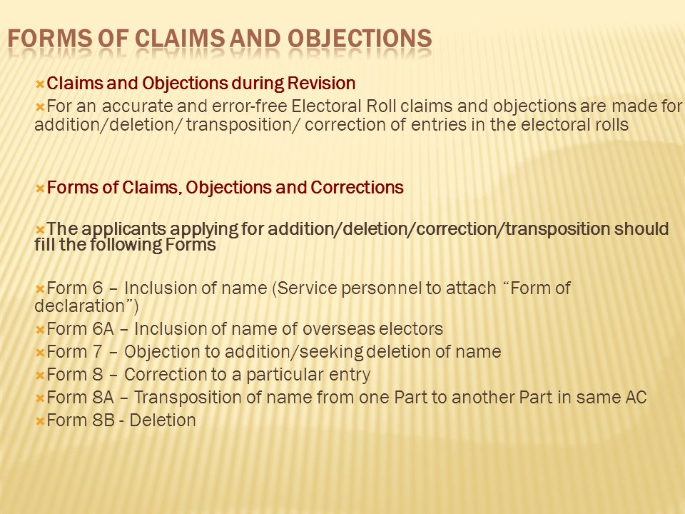 Forms of Claims and Objections