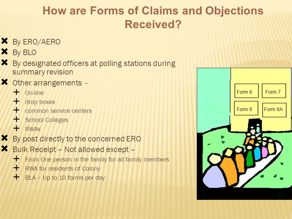 How are Forms of Claims and Objections Received