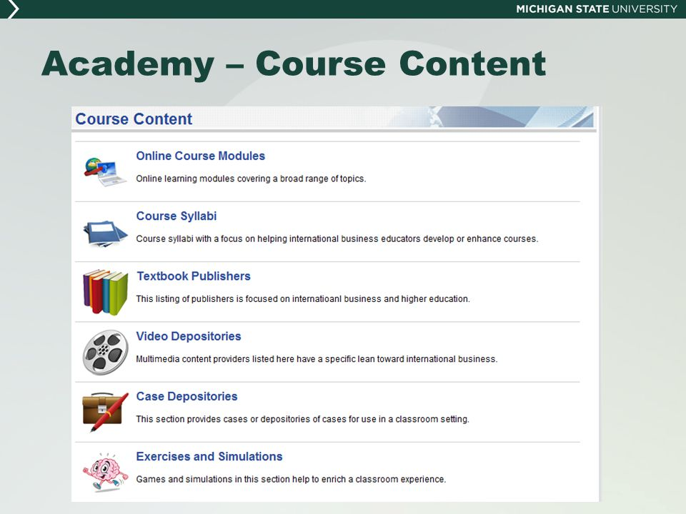Academy – Course Content