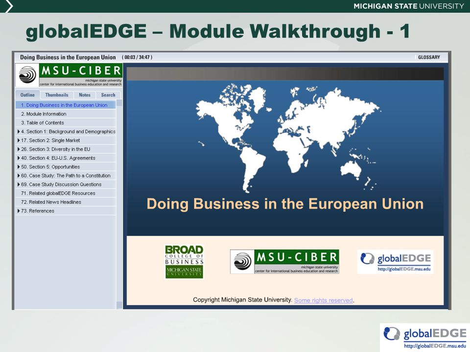 globalEDGE – Module Walkthrough - 1