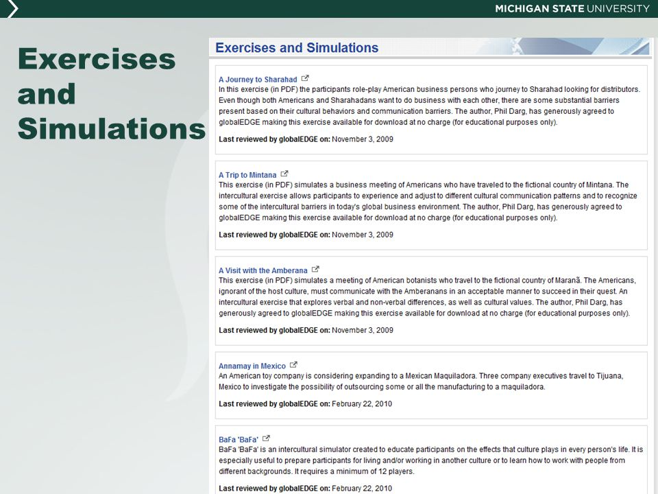 Exercises and Simulations