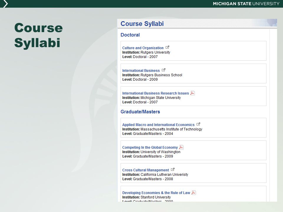 Course Syllabi