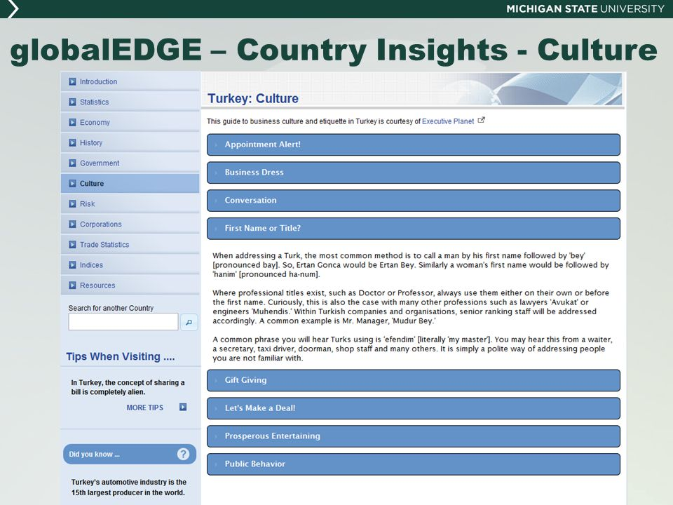 globalEDGE – Country Insights - Culture