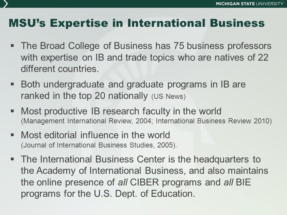 MSU's Expertise in International Business
