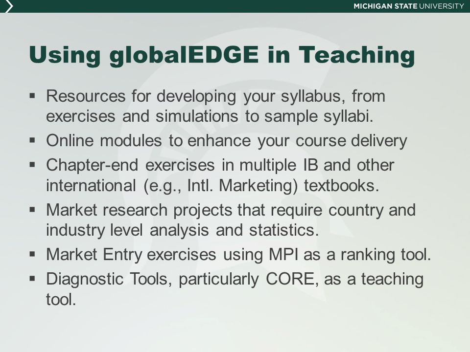 Using globalEDGE in Teaching