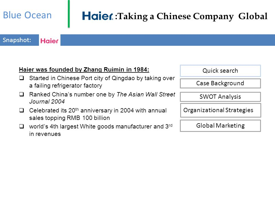 Blue Ocean :Taking a Chinese Company Global Snapshot: Quick search
