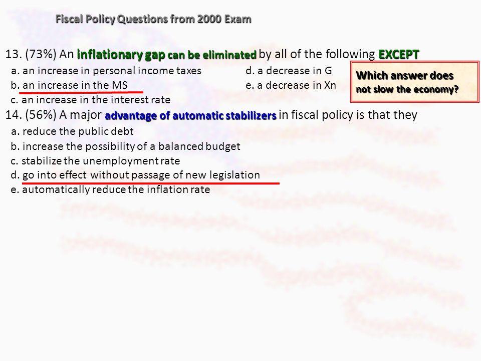 Fiscal Policy Questions from 2000 Exam