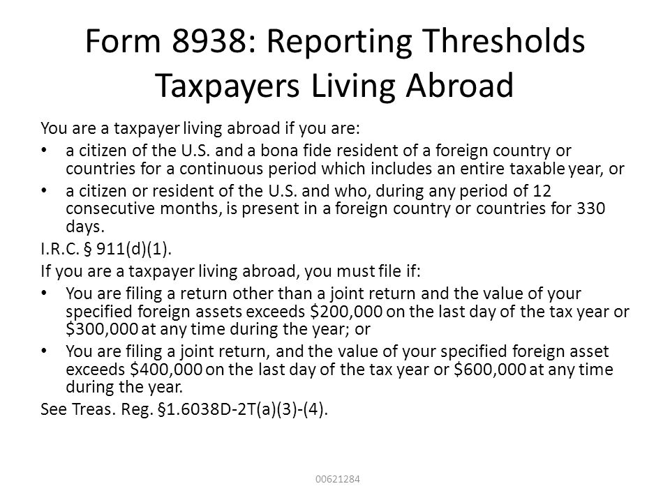 Form 8938: Reporting Thresholds Taxpayers Living Abroad