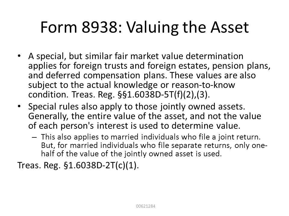 Form 8938: Valuing the Asset