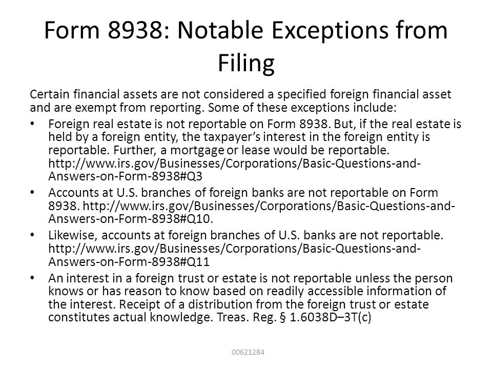 Form 8938: Notable Exceptions from Filing