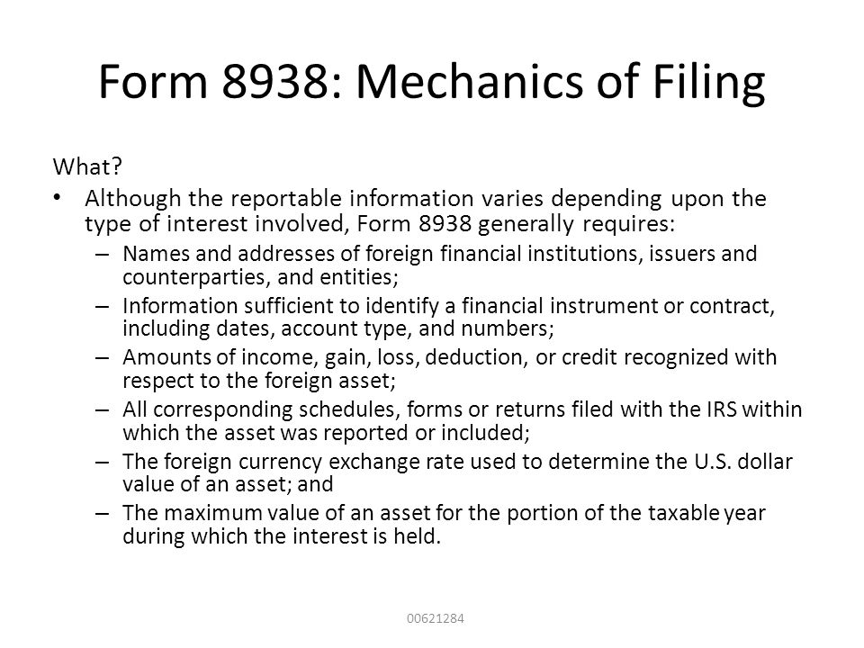 Form 8938: Mechanics of Filing