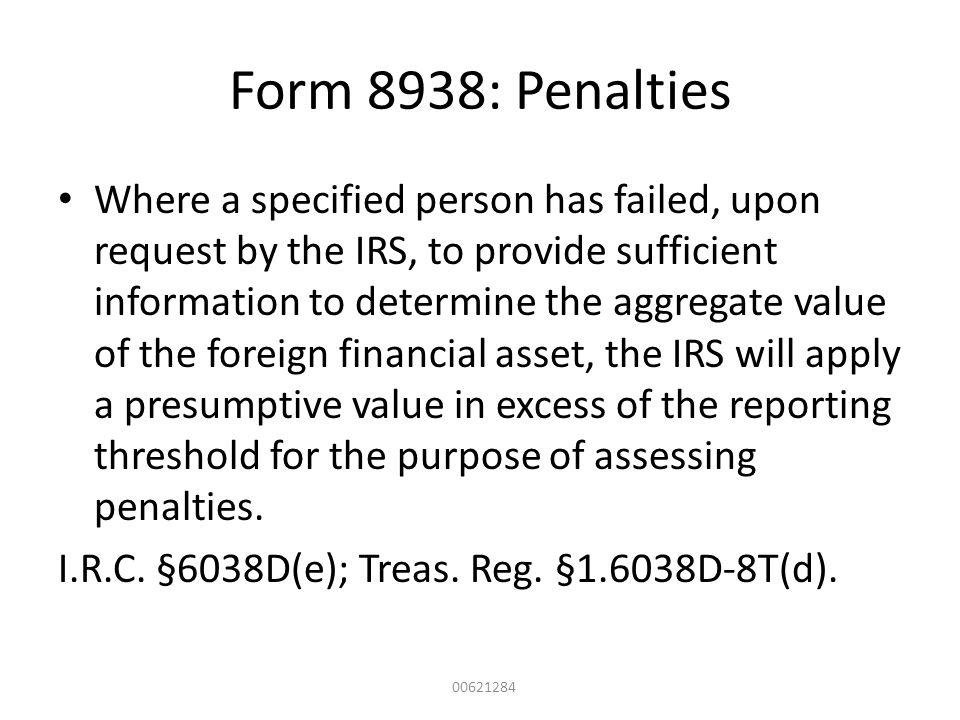 Form 8938: Penalties