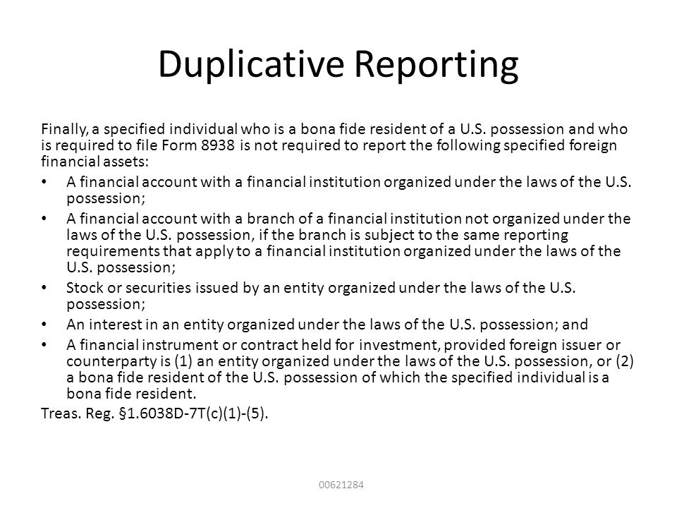 Duplicative Reporting