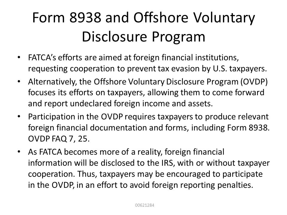 Form 8938 and Offshore Voluntary Disclosure Program