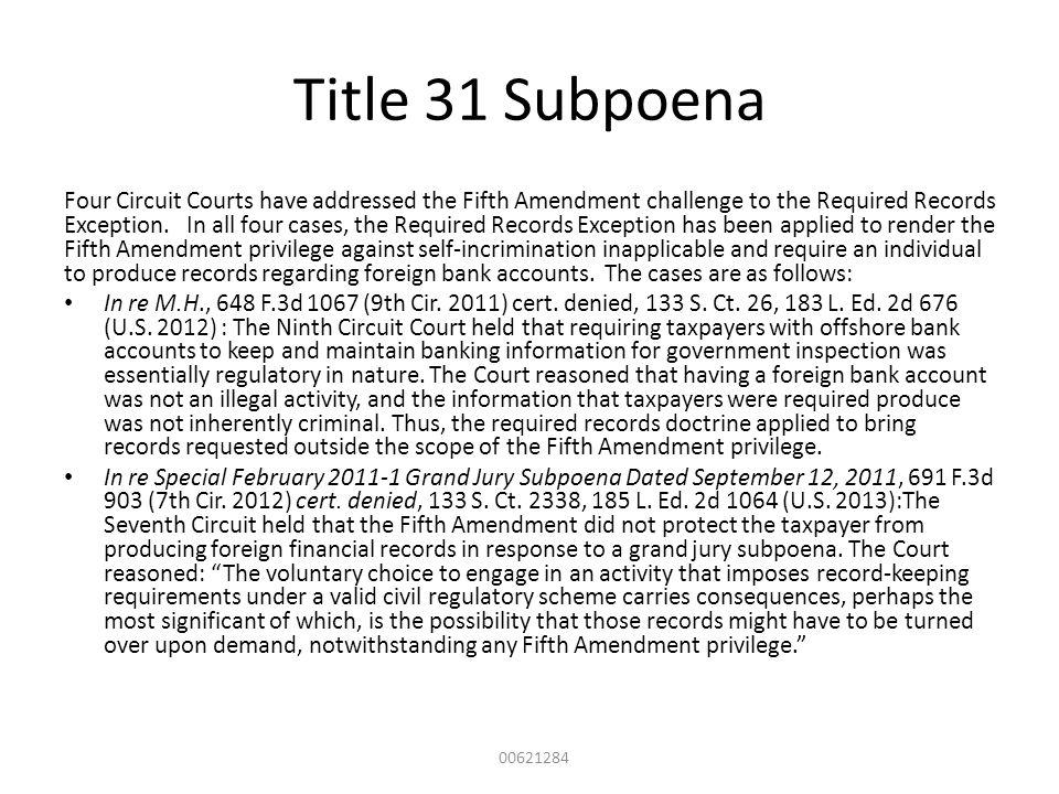 Title 31 Subpoena