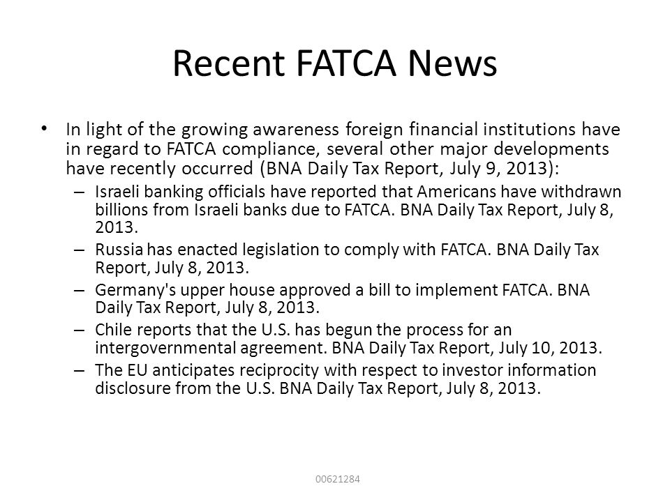 Recent FATCA News