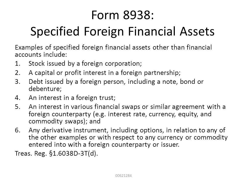 Form 8938: Specified Foreign Financial Assets