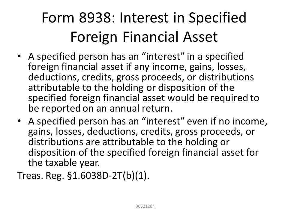 Form 8938: Interest in Specified Foreign Financial Asset