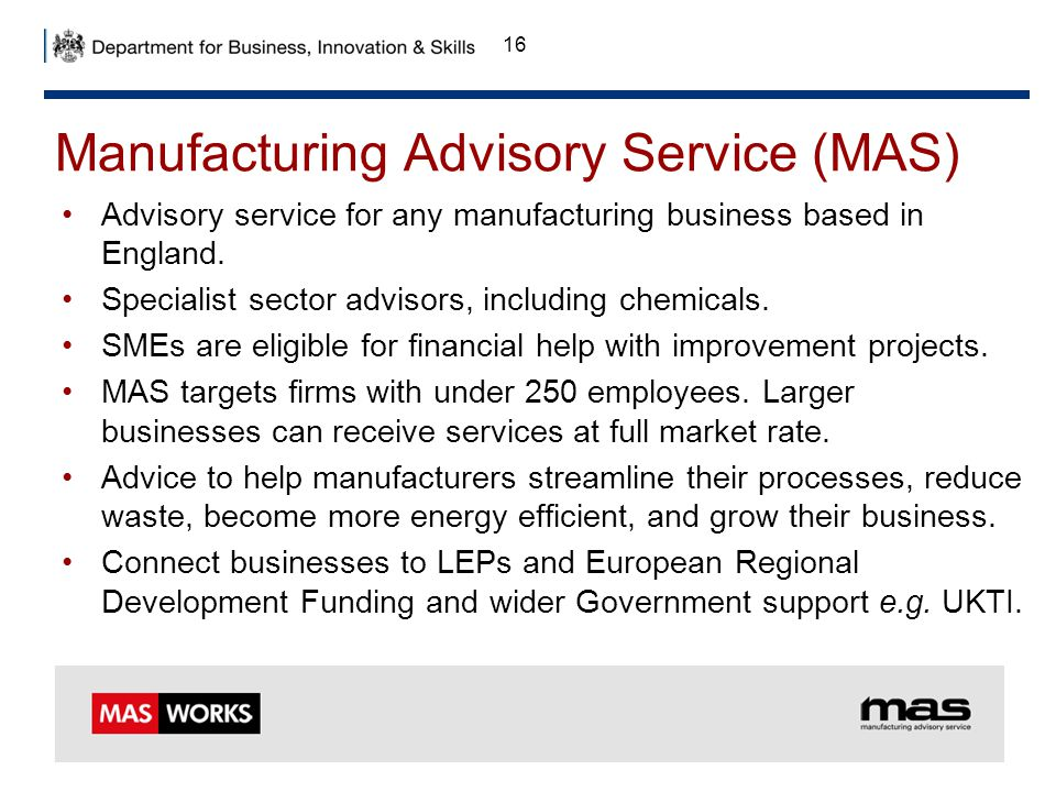 Manufacturing Advisory Service (MAS)