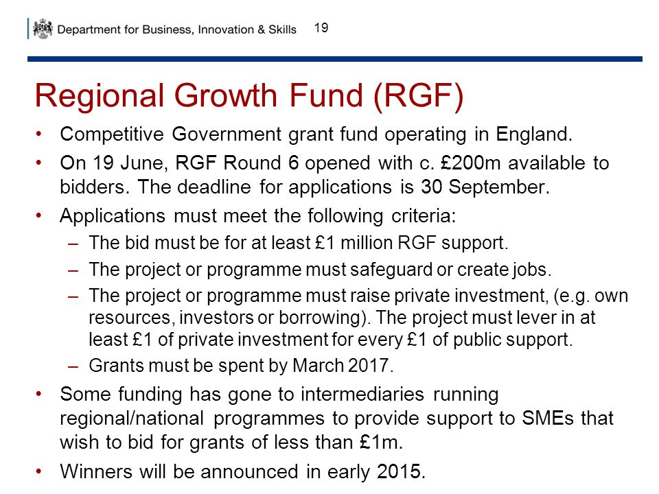 Regional Growth Fund (RGF)