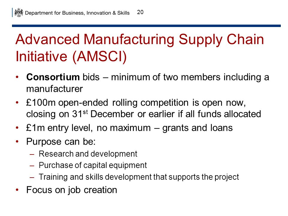 Advanced Manufacturing Supply Chain Initiative (AMSCI)