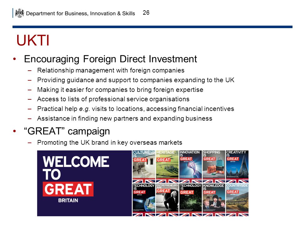 UKTI Encouraging Foreign Direct Investment GREAT campaign
