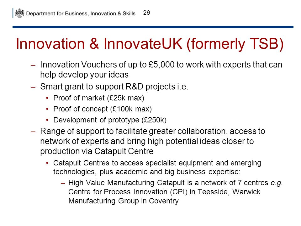 Innovation & InnovateUK (formerly TSB)