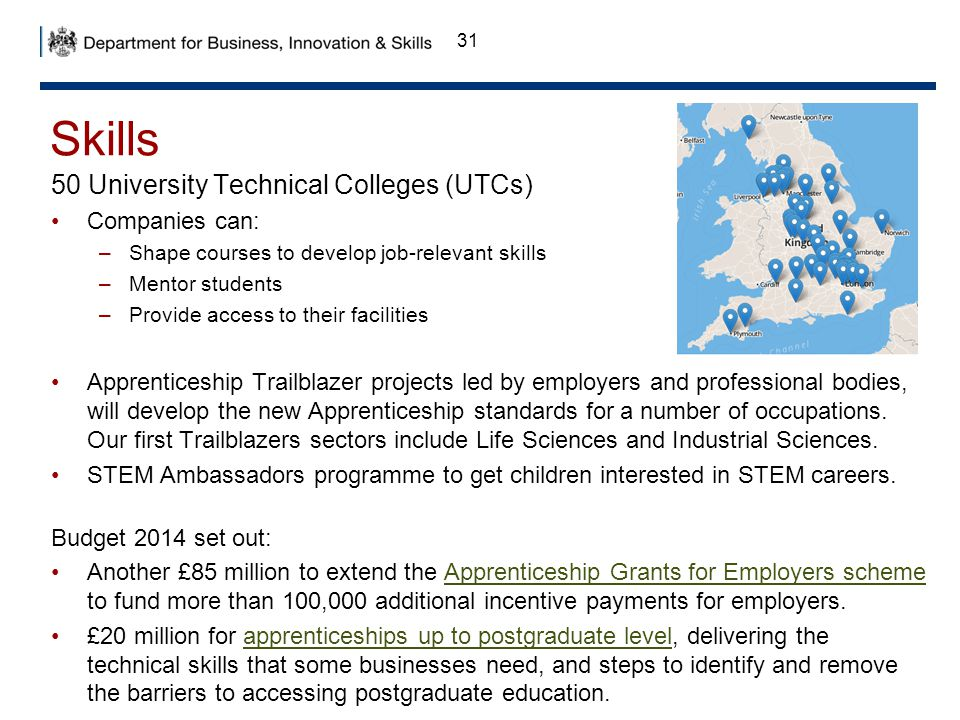 Skills 50 University Technical Colleges (UTCs) Companies can: