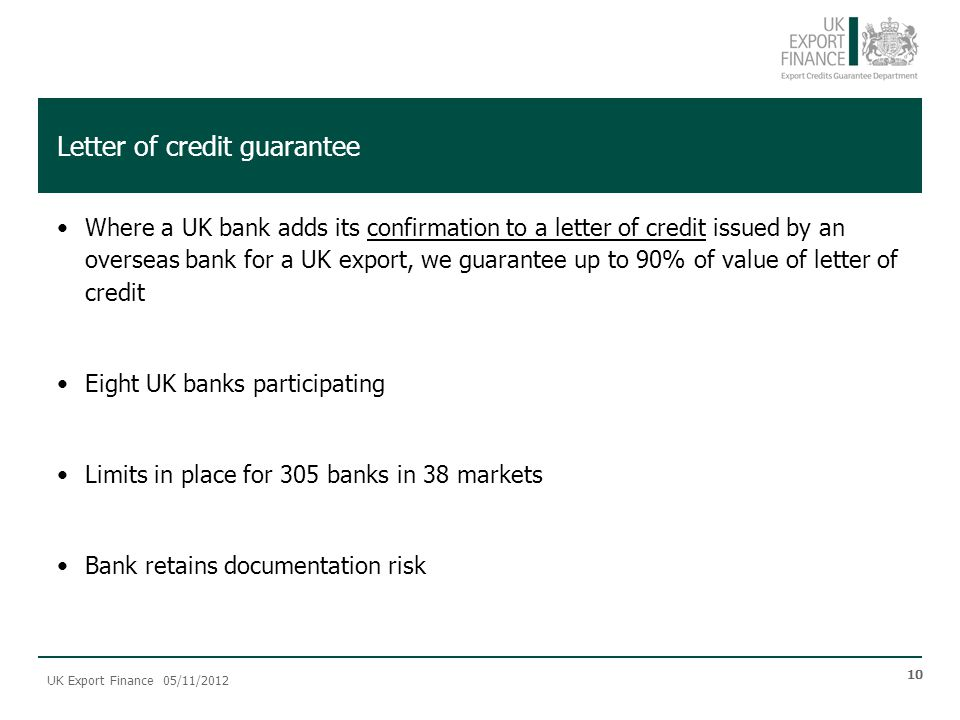 Letter of credit guarantee