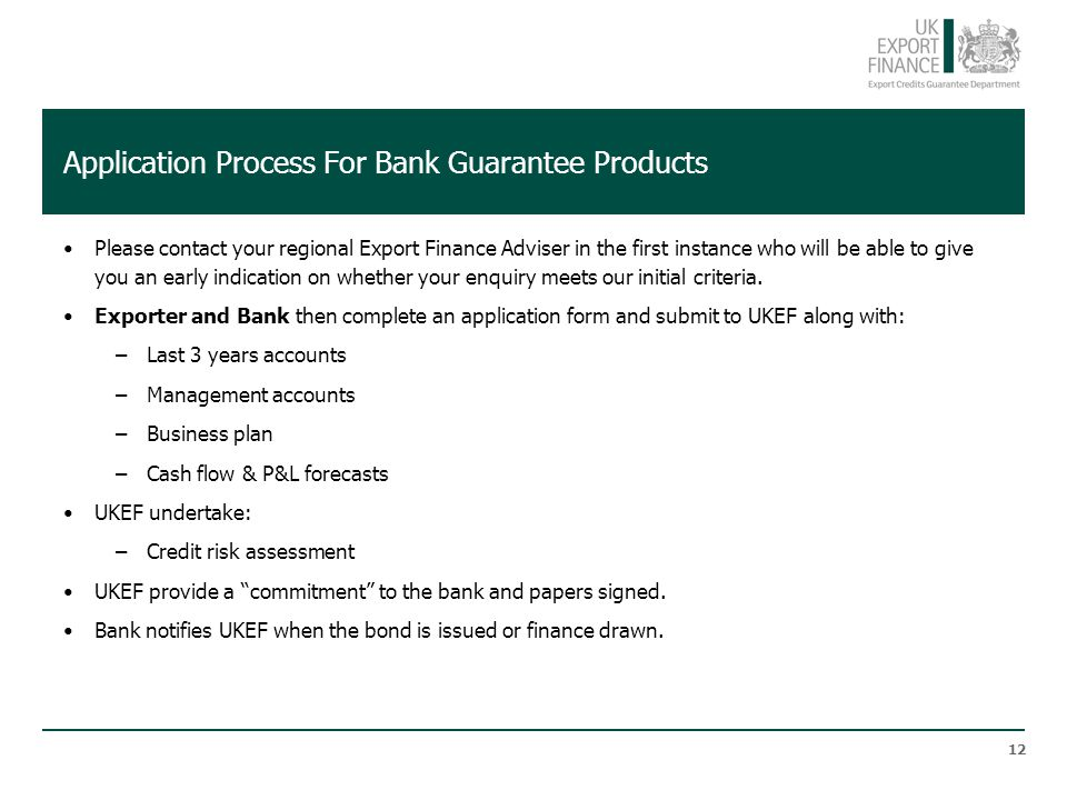 Application Process For Bank Guarantee Products