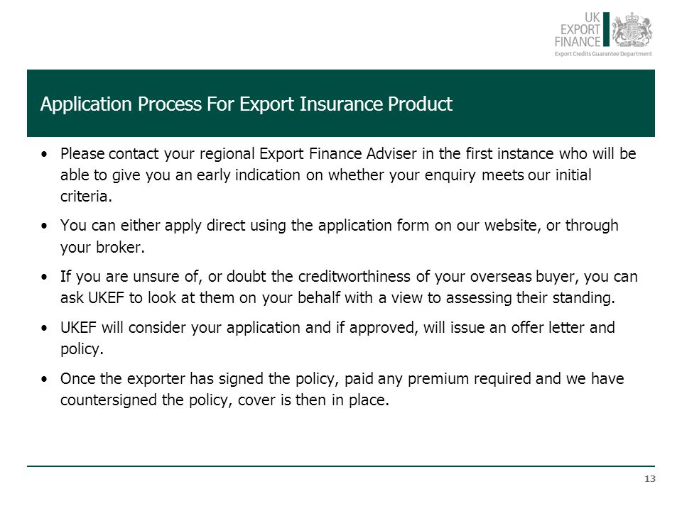 Application Process For Export Insurance Product
