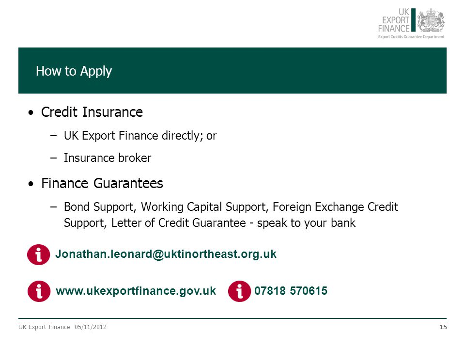 Credit Insurance Finance Guarantees How to Apply