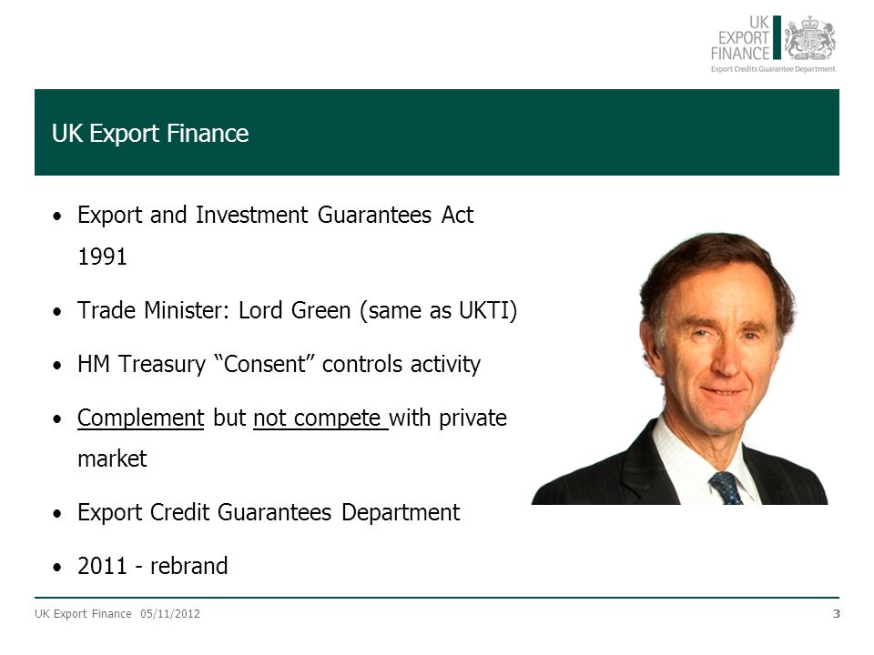UK Export Finance Export and Investment Guarantees Act 1991