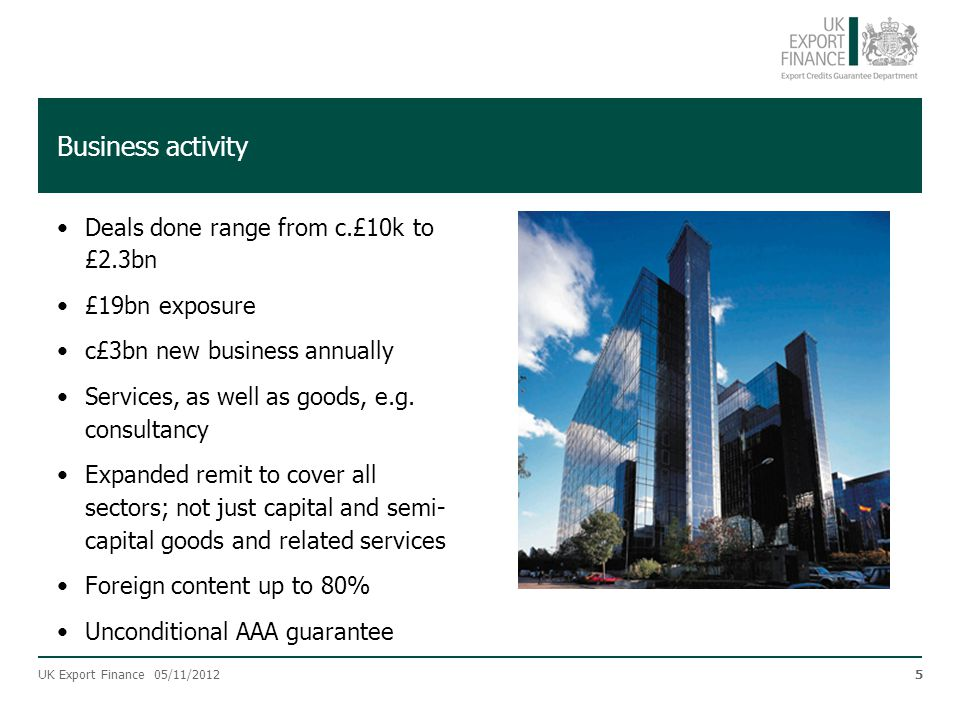 Business activity Deals done range from c.£10k to £2.3bn
