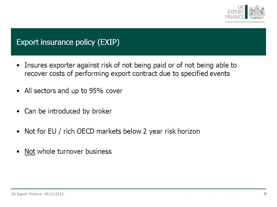 Export insurance policy (EXIP)