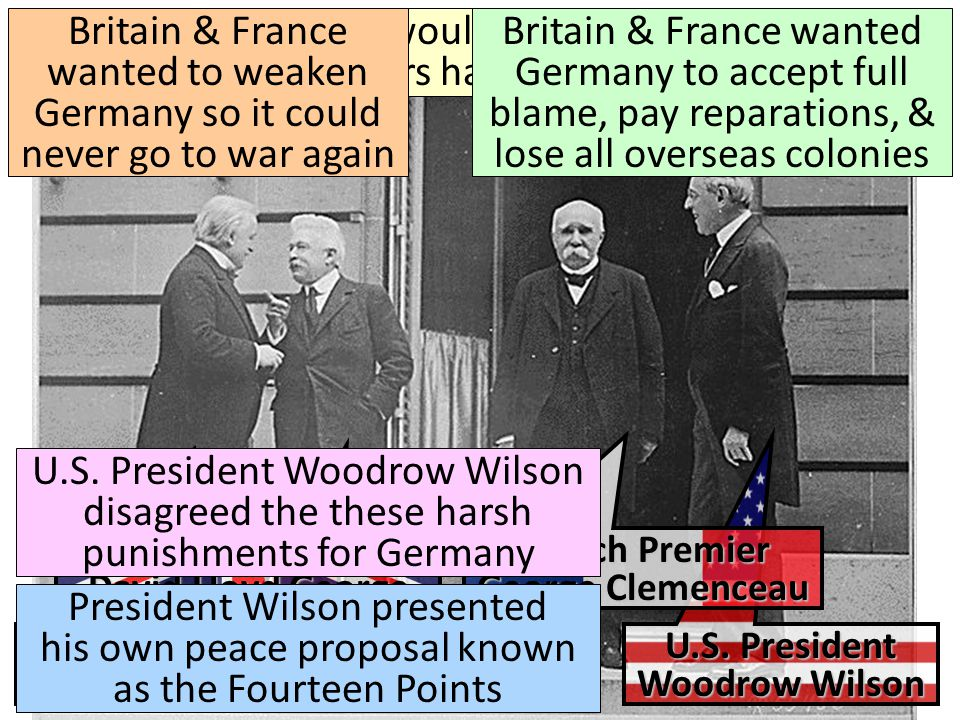 Britain & France wanted to weaken Germany so it could never go to war again