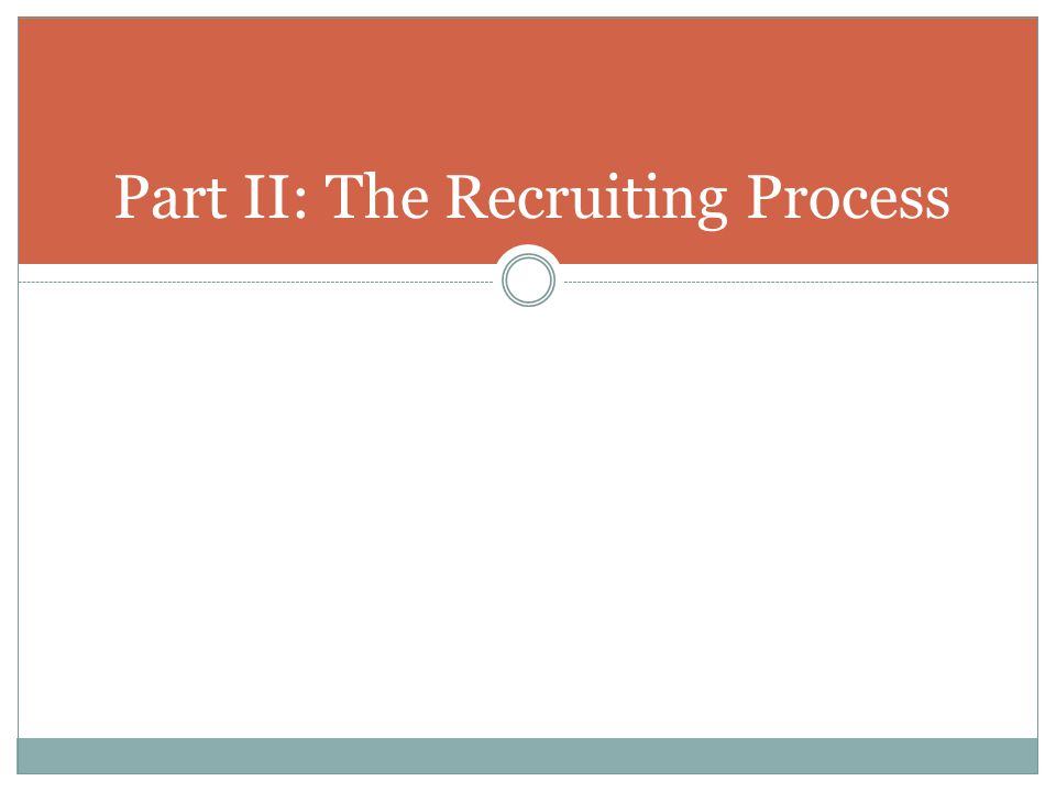 Part II: The Recruiting Process