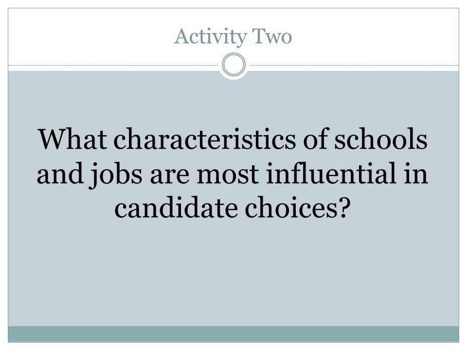 Activity Two What characteristics of schools and jobs are most influential in candidate choices