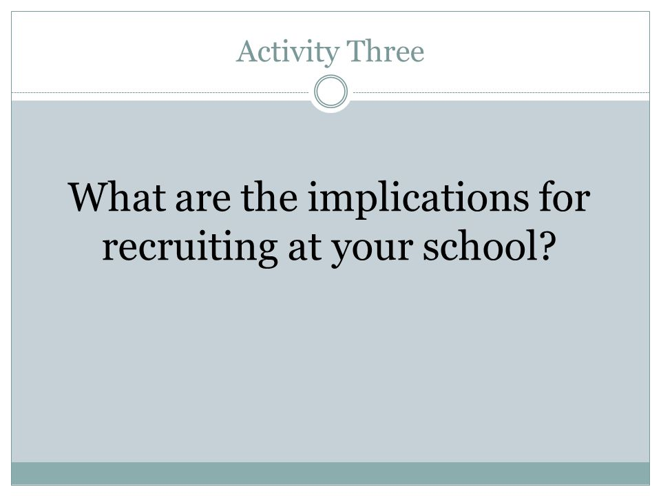 What are the implications for recruiting at your school