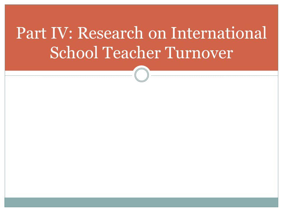 Part IV: Research on International School Teacher Turnover