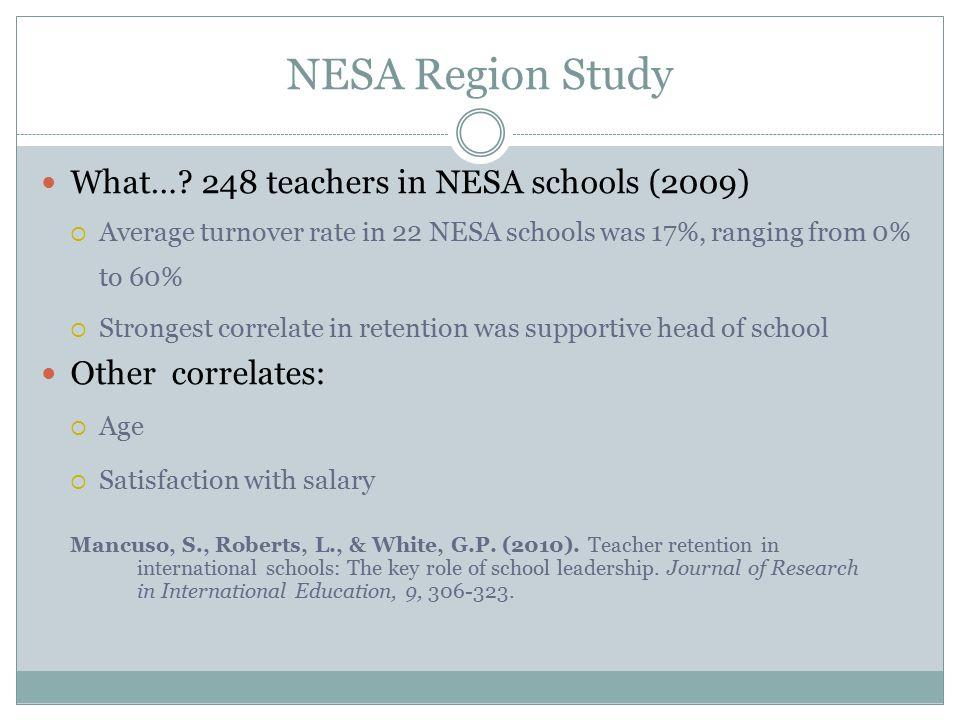 NESA Region Study What… 248 teachers in NESA schools (2009)