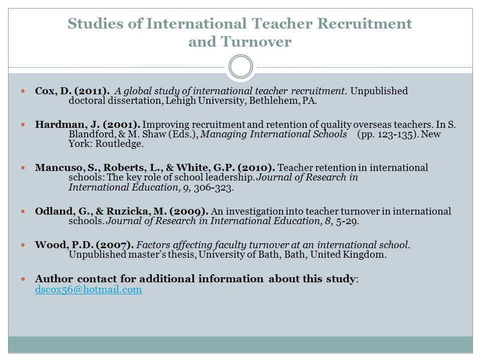 Studies of International Teacher Recruitment and Turnover
