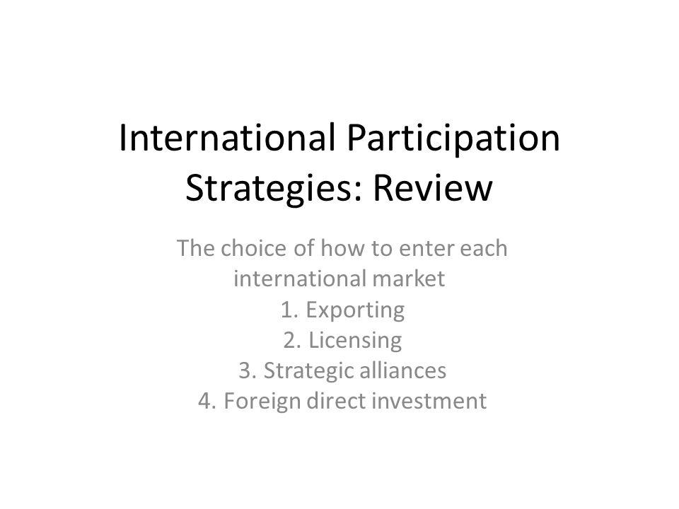 International Participation Strategies: Review