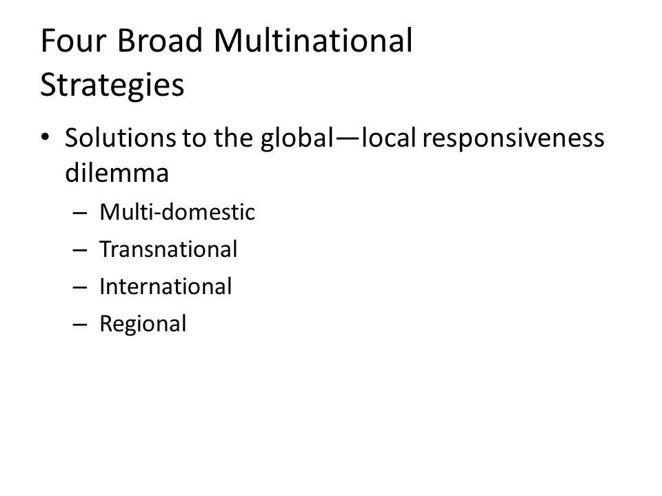 Four Broad Multinational Strategies
