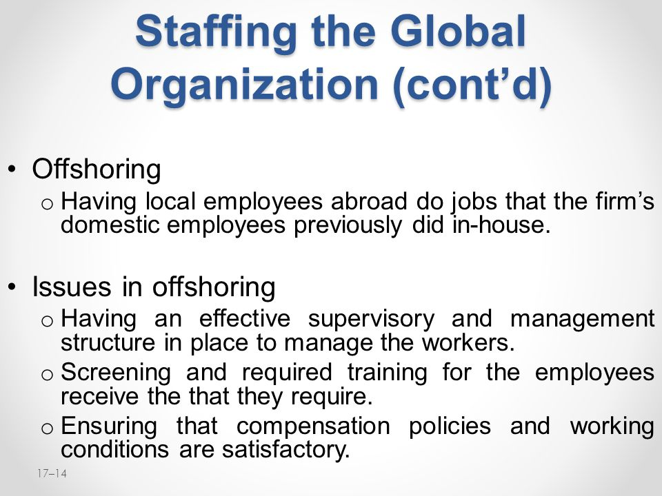 Staffing the Global Organization (cont'd)