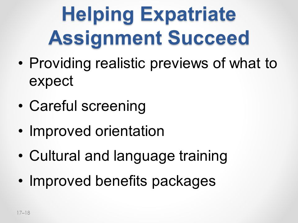 Helping Expatriate Assignment Succeed