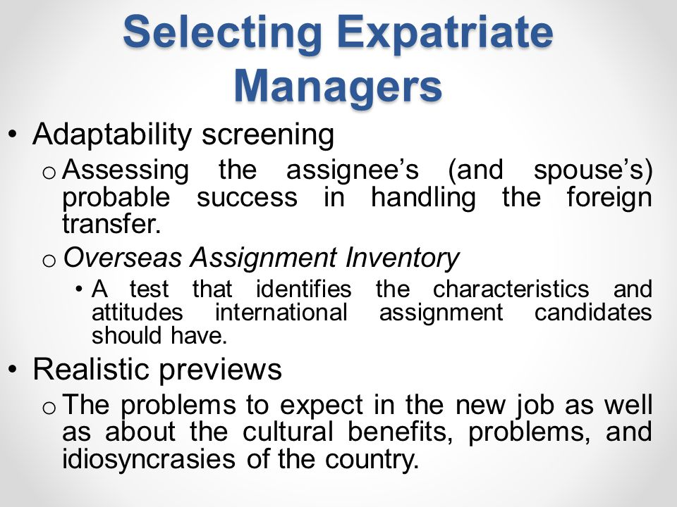 Selecting Expatriate Managers