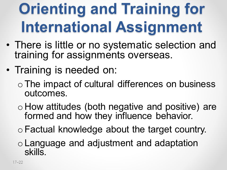 Orienting and Training for International Assignment